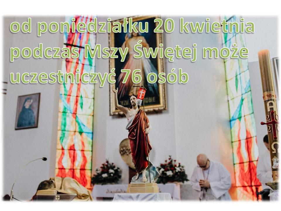 od poniedziałku 20 kwietnia podczas Mszy Świętej może