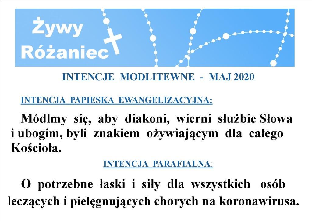 iNTENCJE RÓŻAŃCOWE  maj 2020